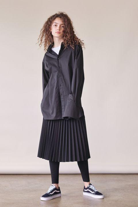 Clothing, Outerwear, Uniform, Fashion, School uniform, Footwear, Neck, Sleeve, Knee, Coat,