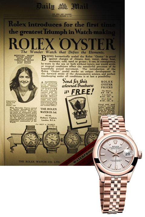 "<p>English Channel swimmer Mercedes Gleitze gave the water-resistant Rolex Oyster instant street cred—in fact, she introduced&nbsp;the world to the&nbsp;idea of brand ambassadorship. Today's ladies Datejust retains much of the original's aesthetic, including the distinctive dial with hour markers made of 18K&nbsp;gold (the current covetable version is&nbsp;available&nbsp;in&nbsp;Everose&nbsp;pink gold).</p><p><em data-redactor-tag=""em"" data-verified=""redactor"">Lady Datejust 28 in Everose, $25,650;&nbsp;</em><a href=""https://www.rolex.com/watches/datejust/m279165-0003.html"" target=""_blank"" data-tracking-id=""recirc-text-link""><em data-redactor-tag=""em"" data-verified=""redactor"">rolex.com</em></a></p>"