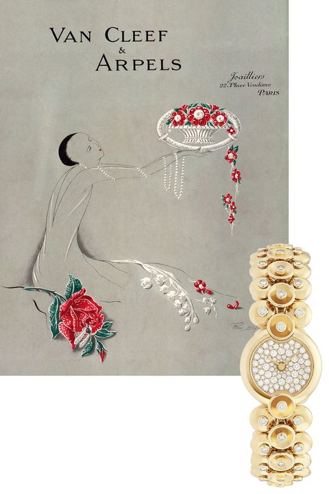 "<p>Art Deco elegance was in full force in this Van Cleef &amp; Arpels&nbsp;ad for&nbsp;its&nbsp;boutique&nbsp;at Paris's Place Vendôme<span class=""redactor-invisible-space"" data-verified=""redactor"" data-redactor-tag=""span"" data-redactor-class=""redactor-invisible-space"">. T</span>he same level of glam is still apparent&nbsp;today, with a yellow gold and diamond watch based on a ""paillette"" motif created in the 1930s.&nbsp;</p><p><em data-redactor-tag=""em"" data-verified=""redactor"">Bouton d'or, $64,500;&nbsp;</em><a href=""http://www.vancleefarpels.com/us/en.html"" target=""_blank"" data-tracking-id=""recirc-text-link""><em data-redactor-tag=""em"" data-verified=""redactor"">vancleefarpels.com</em></a></p>"