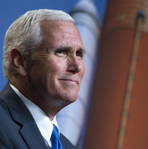 In this handout provided by the National Aeronautics and Space Administration (NASA), U.S. Vice President Mike Pence delivers remarks during an event where NASA introduced 12 new astronaut candidates on June 7, 2017 at NASA's Johnson Space Center in Houston, Texas.