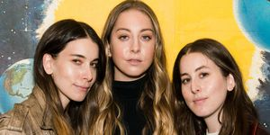Danielle Haim, Este Haim and Alana Haim of HAIM pose for a photo during a pop up screening of Paul Thomas Anderson's 'Valentine' at Alamo Drafthouse Cinema on July 5, 2017 in the Brooklyn borough of New York City.