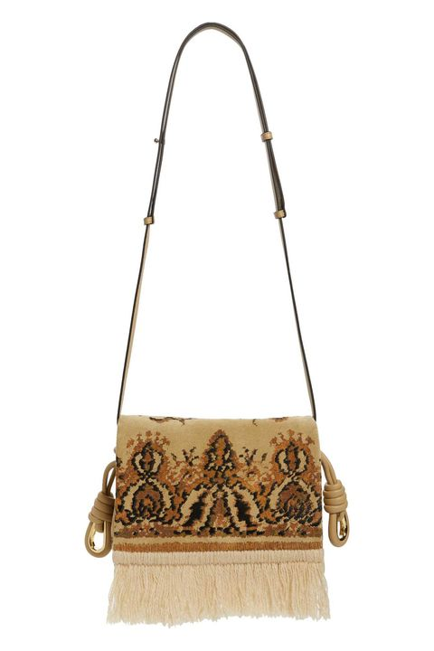 "<p>Loewe Flamenco Fringe Tapestry Calfskin Leather Bag, $876;&nbsp;<a href=""http://shop.nordstrom.com/s/loewe-flamenco-fringe-tapestry-calfksin-leather-bag/4585075?origin=category-personalizedsort&amp;fashioncolor=GOLD%20MULTITONE"" target=""_blank"" rel=""noopener noreferrer"">nordstrom.com</a></p>"