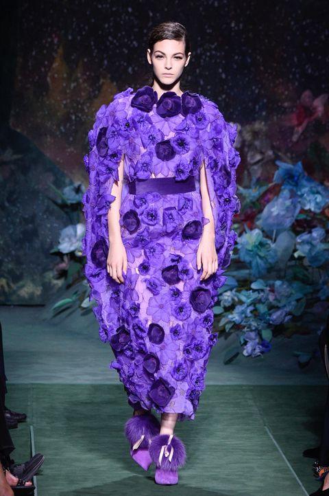 Fashion show, Purple, Style, Violet, Lavender, Runway, Fashion model, Fashion, Electric blue, Haute couture,