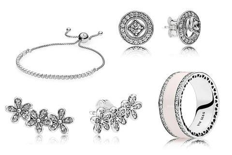0e1814121 Clockwise from top L: Pandora Bracelet, $50, pandora.net; Pandora Earrings,  $65, pandora.net; Pandora Enamel Ring, $85, pandora.net; Pandora Earrings,  $65, ...