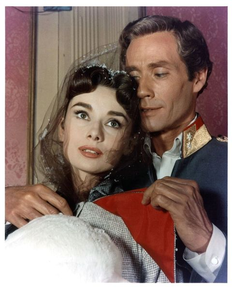 "<p>Ferrer became Hepburn's first husband in 1954, then played Prince Andrei to Hepburn's Natasha Rostova in <em data-redactor-tag=""em"">War and Peace</em> two years later (parallels). When the pair divorced, rumors swirled that Hepburn was having an affair with Albert Finney, her co-star in <em data-redactor-tag=""em"">Two for the Road</em>.</p>"