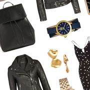 Style, Fashion, Black, Leather, Pattern, Analog watch, Design, Watch, Earrings, Leather jacket,