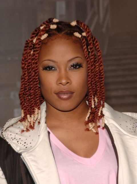 <p>Back in '06, Da Brat rocked russet-colored twists tied-off on both ends with rubber bands for the VH1 Hip Hop Honors.</p>