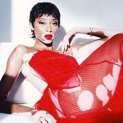 Red, Clothing, Beauty, Lip, Leg, Photo shoot, Black hair, Thigh, Dress, Fashion model,
