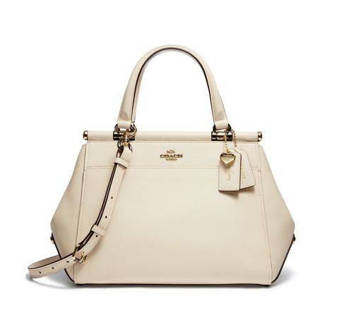 Handbag, Bag, White, Shoulder bag, Fashion accessory, Leather, Beige, Material property, Font, Satchel,