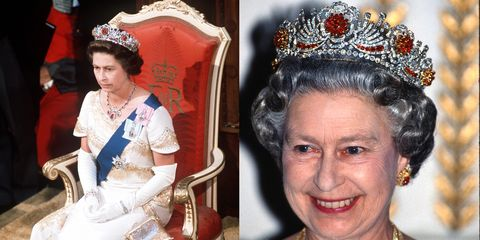 """<p>The queen was given almost 100 Burmese rubies for her wedding day, and had them made into a <a href=""""http://orderofsplendor.blogspot.com/2012/05/tiara-thursday-burmese-ruby-tiara.html"""" target=""""_blank"""" data-tracking-id=""""recirc-text-link"""">tiara</a> in 1973. She combined the rubies with diamonds made from a different dismantled tiara<span class=""""redactor-invisible-space"""" data-verified=""""redactor"""" data-redactor-tag=""""span"""" data-redactor-class=""""redactor-invisible-space""""></span>. #TooManyTiaras<span class=""""redactor-invisible-space"""" data-verified=""""redactor"""" data-redactor-tag=""""span"""" data-redactor-class=""""redactor-invisible-space""""></span></p>"""