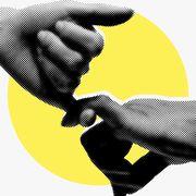 Yellow, Hand, Gesture, Handshake, Finger, Thumb,