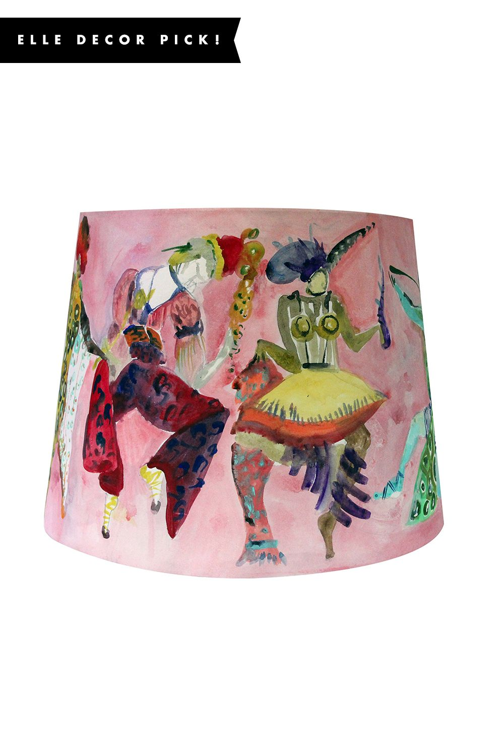 """<p>""""A painterly party scene, rendered here on wallpapered lamp shades,is the perfect way to kick off the year-end entertaining season.""""</p><p><em data-redactor-tag=""""em"""" data-verified=""""redactor"""">SHOP NOW: Voutsa Ballet Russes Lampshade, $650; <a href=""""https://www.panierhome.com/makers-1/ballet-russes-pink-lamp-shade"""" target=""""_blank"""" data-tracking-id=""""recirc-text-link"""">panierhome.com</a></em></p>"""