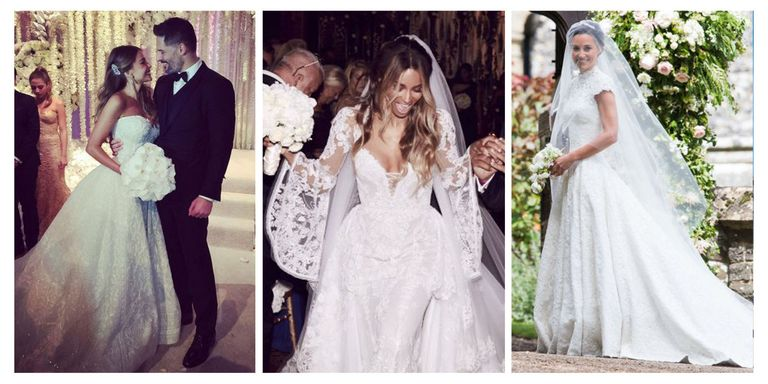Best celebrity wedding dresses the most stunning celebrity from pale pink numbers to a veil adorned with childrens doodles leave it to angelina jolie to do something that adorable hollywoods wedding gowns are junglespirit Choice Image