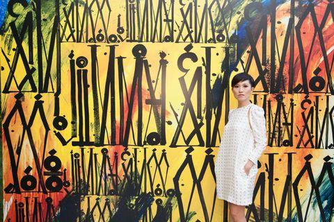 Yellow, Dress, One-piece garment, Street fashion, Day dress, Visual arts, Vintage clothing, Graffiti, Cocktail dress, Illustration,