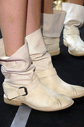 Footwear, White, Boot, Fashion, Beige, Tan, Ivory, Fashion design, Silver, Buckle,