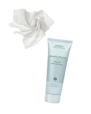 Aveda Smooth Infusion conditioner and Huggies Baby Wipes