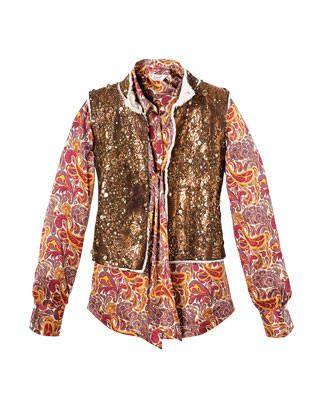 Oscar de la Renta embroidered shearling vest