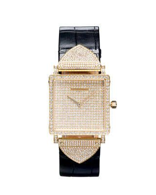 Louis Vuttion diamond watch with alligator strap