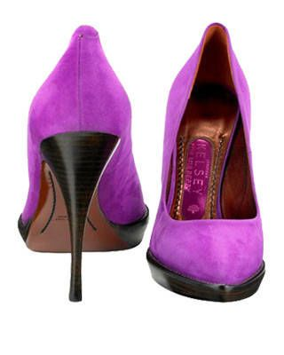 The platform pump in fuscia, Mulberry