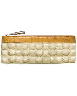 Alligator trim jewel-and-linen clutch, Burberry Prorsum