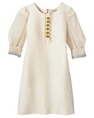 Couture Couture jacquard dress with chiffon sleeves