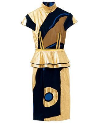 Foiled and printed silk chiffon and satin dress, Nathan Jenden