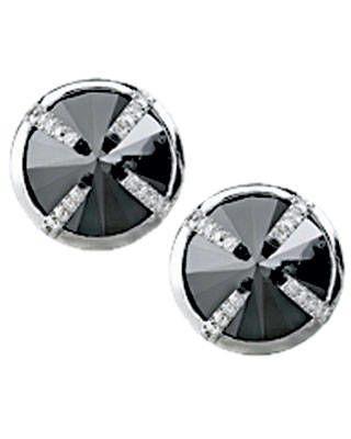 Black-and-white-diamond earrings, Elyse Jacob