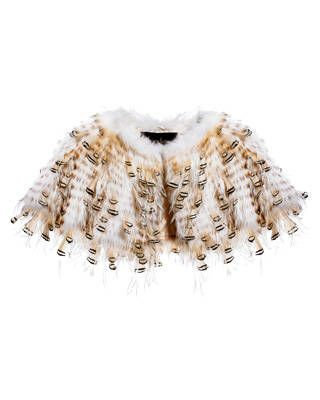 Feather-trim bleached raccoon cape, Sorbara for Neiman Marcus