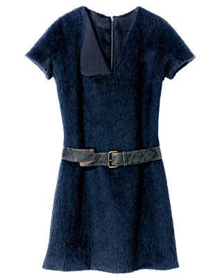 Alpaca and wool T-shirt dress, ostrich belt, both, Marc Jacobs