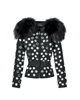 Dolce & Gabbana appliqué-trim silk-and-wool jacket with fur collar