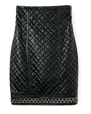 fall trends - Balmain quilted leather skirt