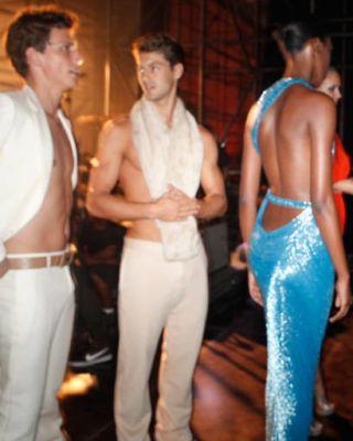 Models backstage at Versace