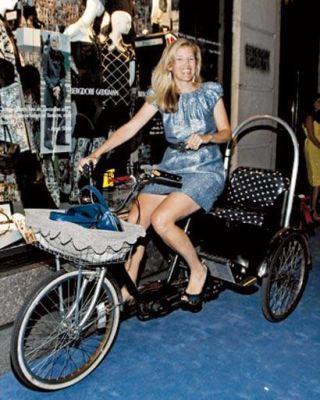 Lela Rose on a bicycle