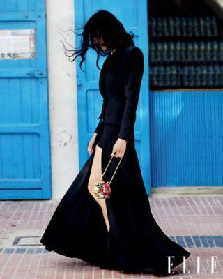 Clothing, Blue, Dress, Shoulder, Textile, Formal wear, Style, Door, Flooring, Street fashion,