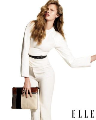white top and trousers