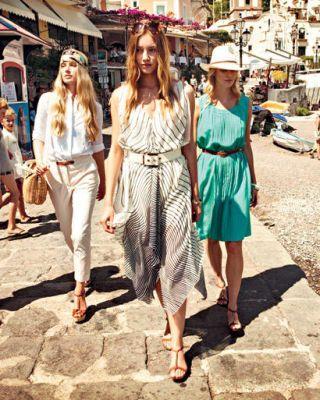 Models walking down a street