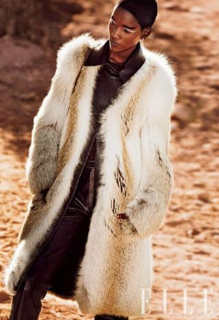 Fawn fox coat with leather collar, Derek Lam