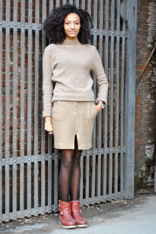 Clothing, Brown, Sleeve, Human leg, Shoulder, Textile, Joint, Outerwear, Style, Street fashion,