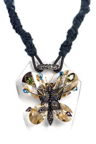 necklace with crystal butterfly