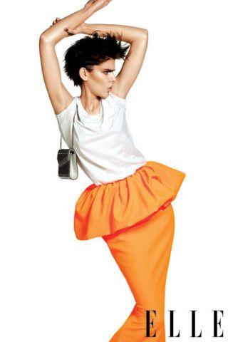 Cotton T-shirt, wool-blended skirt