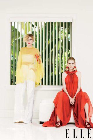 Sheer yellow top and Tissue cotton crepe split-leg dress