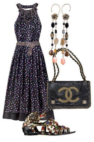 Dress, earrings, purse, sandal