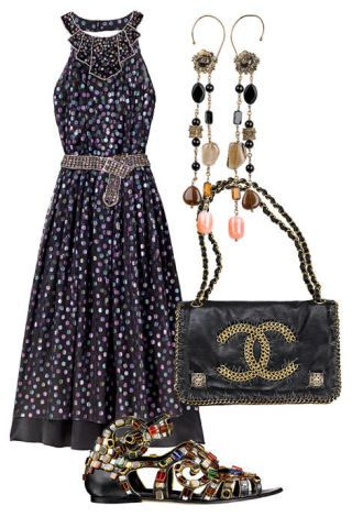 Dress, earrings, purse, sandal