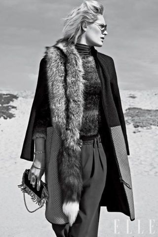 wool coat and fur stole