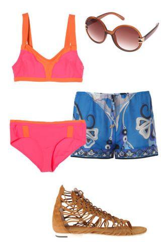 bikini, shorts, sandal