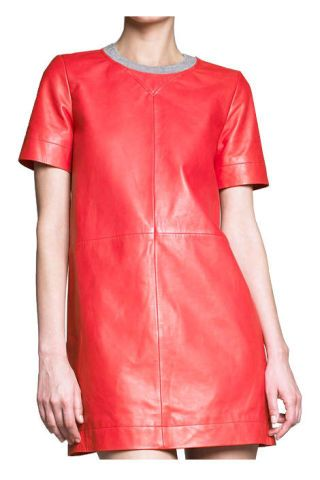 Cacharel knit-trimmed leather shift dress