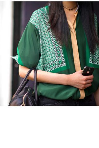 A patterned silk blouse