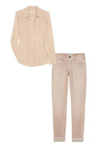 Equipment silk shirt and Current/Elliot roller jeans