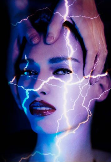 model face with lightening