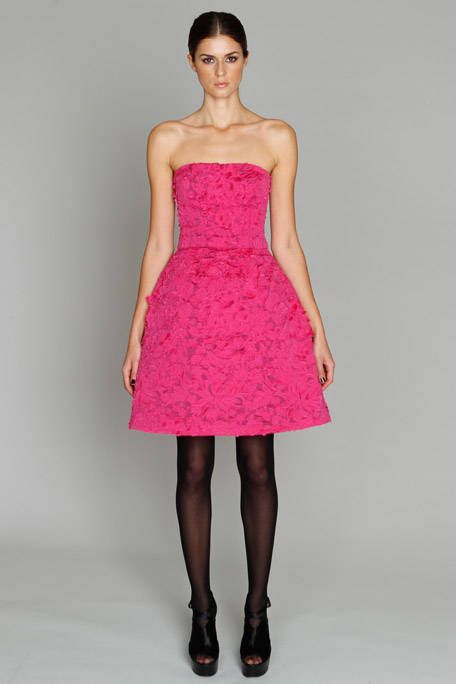 Clothing, Dress, Shoulder, Textile, Joint, Human leg, Standing, One-piece garment, Pink, Magenta,